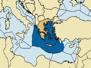 Σχήμα 4. Ελληνική ΑΟΖ, σύμφωνα με την UNCLOS. Είναι πολύ σημαντική σχετικά με το μέγεθος της στερεάς επιφάνειας (περίπου τρείς φορές).